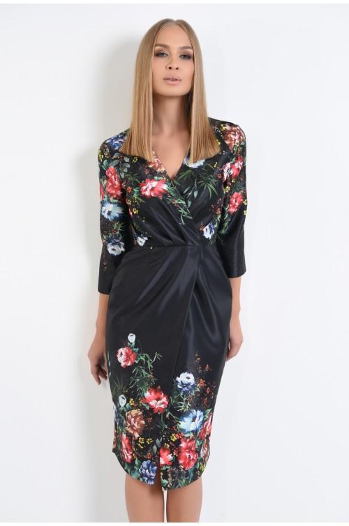 rochie de ocazie, neagra, motive florale, petrecuta