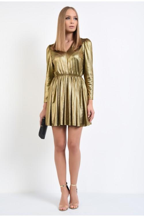 360 - rochie de seara, scurta, lurex auriu, clos