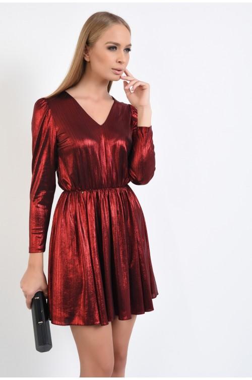 rochie eleganta, scurta, lurex rosu, decolteu anchior, talie pe elastic
