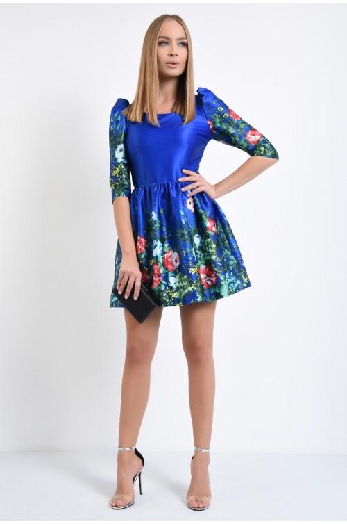 360 - rochie eleganta, din tafta, imprimeu floral, clos, albastra