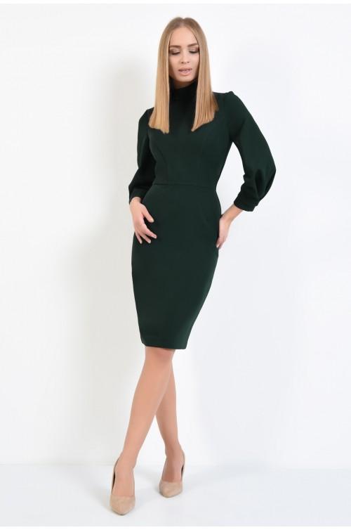 360 - rochie casual, verde, midi, conica, maneci bufante cu manseta