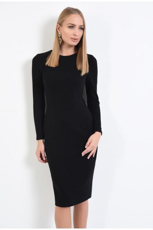 rochie neagra, midi, conica, tricotata, cu maneci lungi