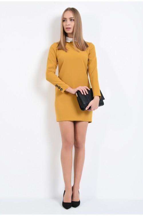 360 - rochie mustar, dreapta, cu maneci lungi, guler in contrast
