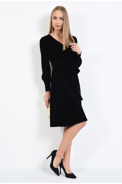 360 - rochie eleganta clos, anchior, catifea neagra, rochii online, maneci bufante