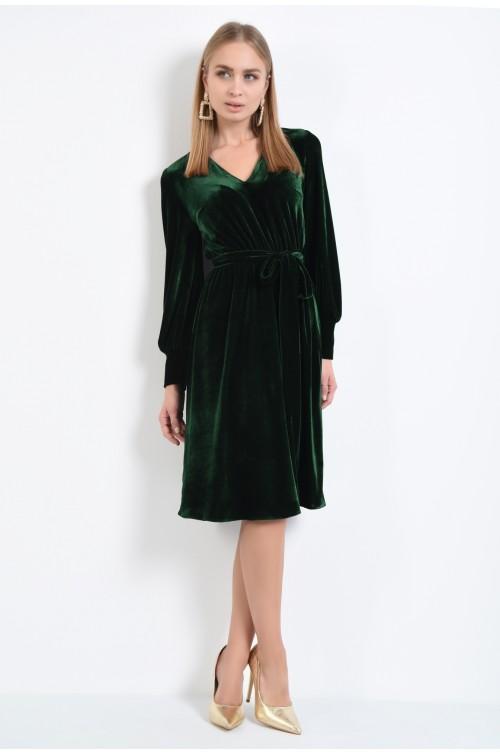 360 - rochie eleganta clos, anchior, catifea verde, rochii online, maneci bufante