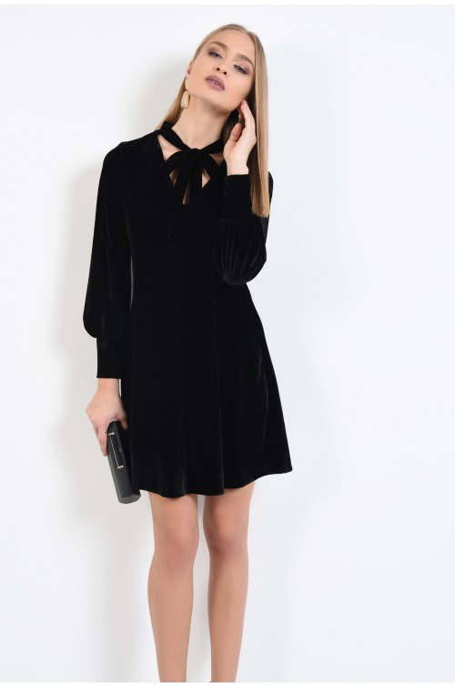 rochie eleganta, din catifea, neagra, anchior, funda