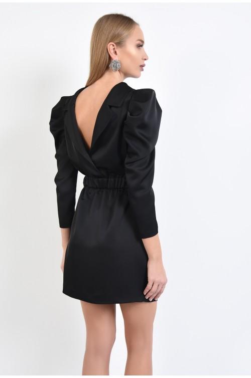 rochie de seara, neagra, scurta, talie pe elastic, maneci fantezie, spate decoltat