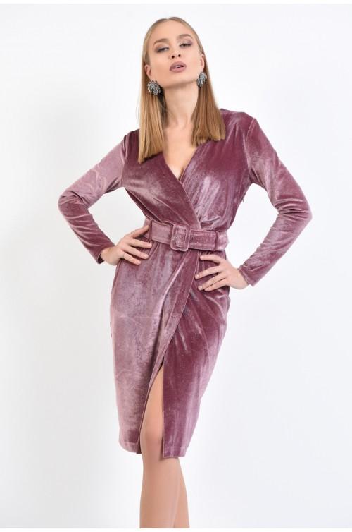 rochie de ocazie, din catifea, roz, cu sclipici, croi conic petrecut