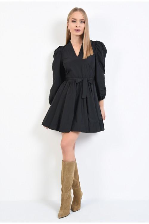 360 - rochie casual, neagra, scurta, cu aspect sifonat, cu anchior, funda la talie