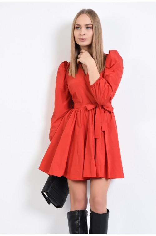 rochie casual, scurta, cu aspect sifonat, cu anchior, funda la talie