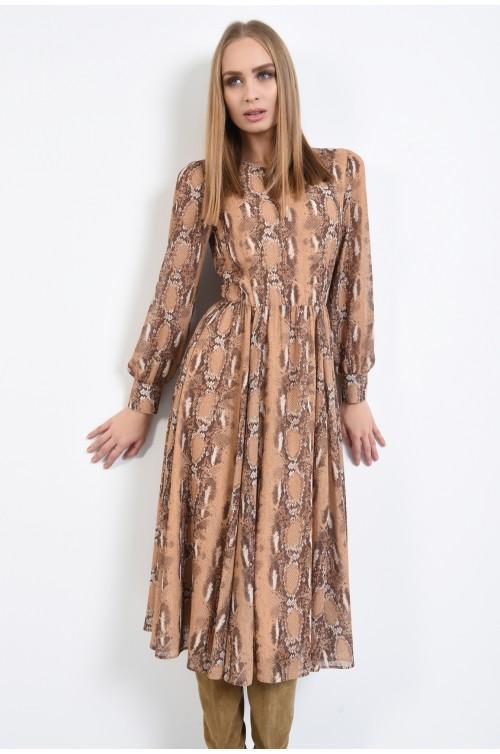 rochie casual, midi, clos, animal print, rochii online