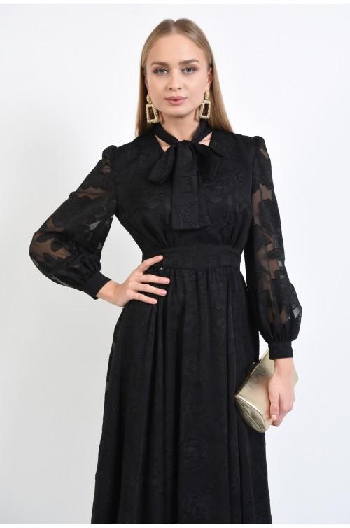 rochie de ocazie, clos, neagra, din voal brodat