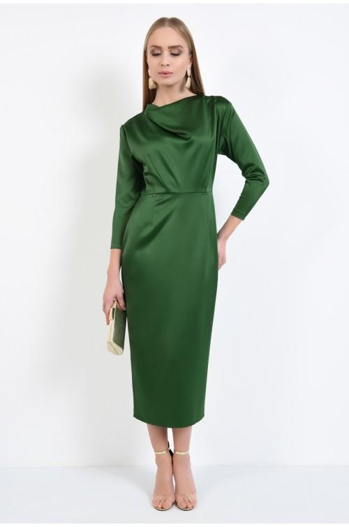rochie de seara, satin, verde, drapaj la decolteu, maneci lungi, crapeu la spate
