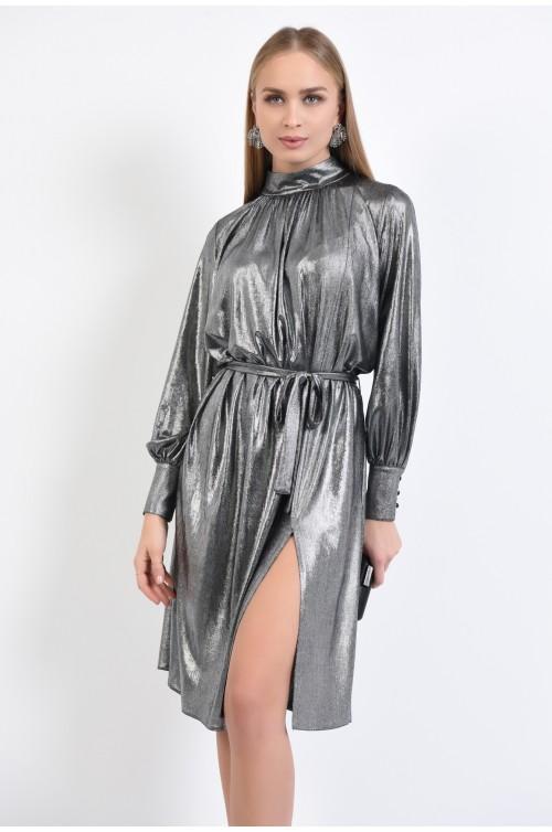 rochie de ocazie, lurex, argintiu, cu crapeu