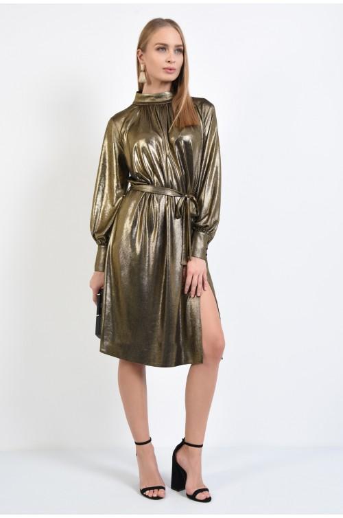 360 - rochie de seara, lurex auriu, cordon in talie, guler inalt, slit pe picior