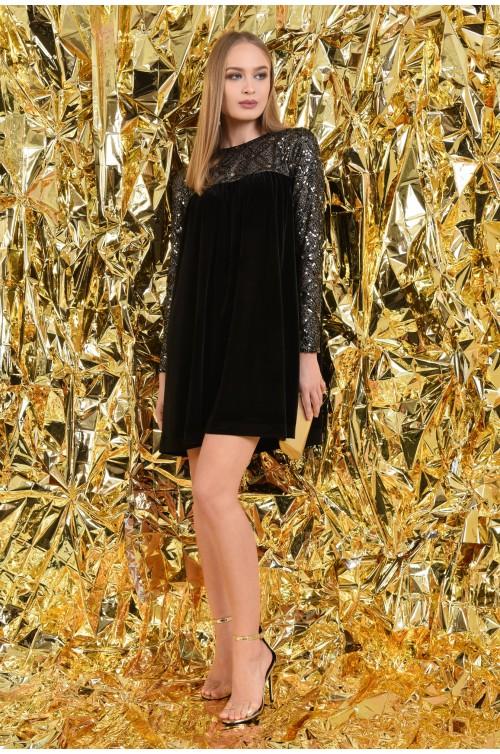 360 - rochie de ocazie, din catifea, paiete aurii, scurta, babydoll
