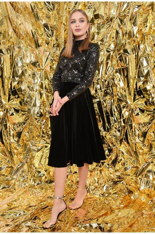 360 - rochie de ocazie, din catifea, paiete aurii, midi, A-line