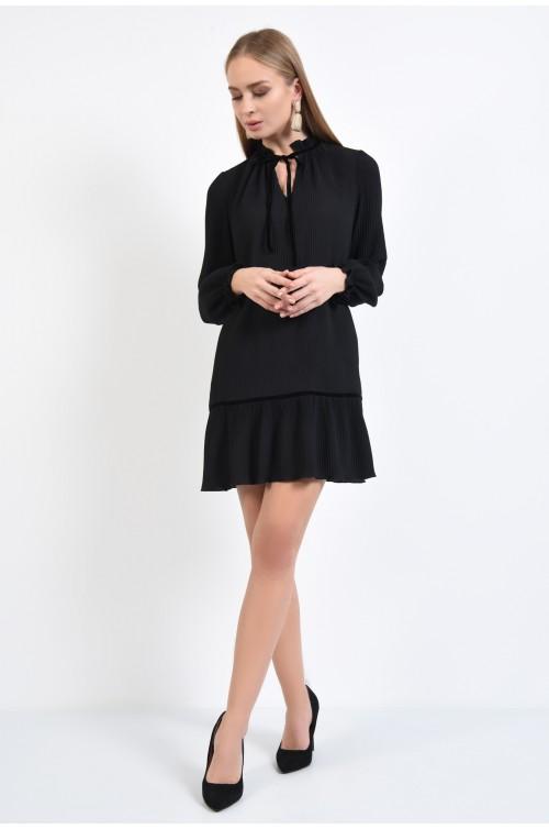 360 - rochie eleganta, scurta, neagra, din voal plisat