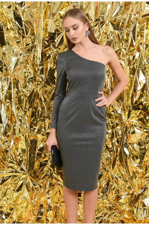 rochie eleganta, conica, midi, argintie, rochii online