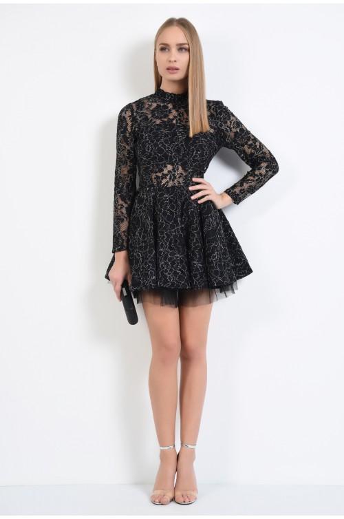 360 - rochie de seara, din dantela, clos, tul, neagra