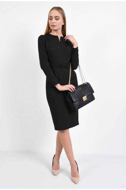 360 - rochie neagra, conica, office, midi, cu curea