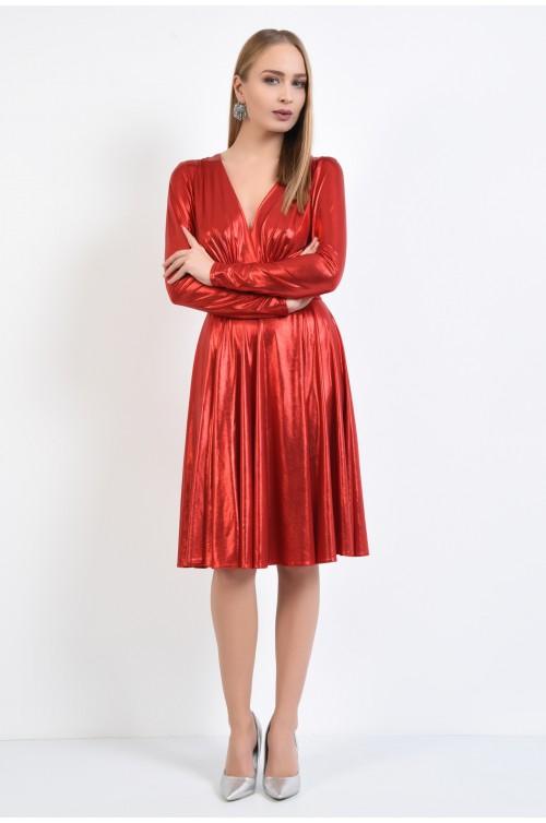 360 - rochie rosie, de seara, midi, clos, jerse peliculizat