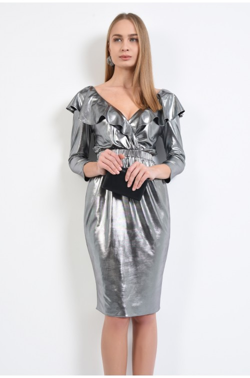 rochie de ocazie, conica, midi, jerse peliculizat, argintiu