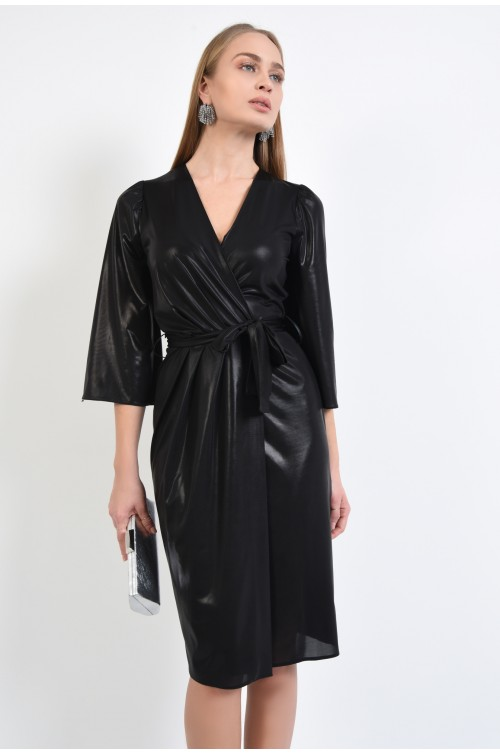 rochie eleganta, neagra, maneci evazate, anchior, lurex, funda