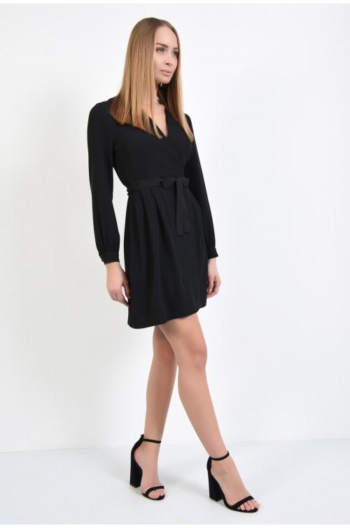 360 - rochie casual, neagra, scurta, cu maneci lungi