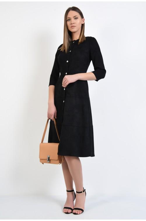 360 - rochie neagra, midi, evazata, inchidere cu capse, din velur