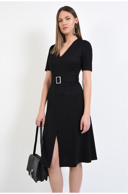 rochie neagra, midi, evazata, cu crapeu, cu maneci scurte