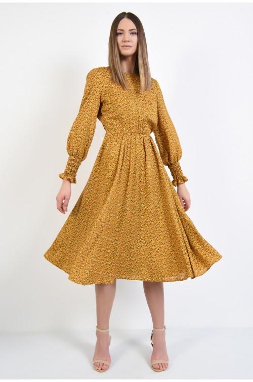 360 - rochie midi, evazata, mustar, cu imprimeu floral