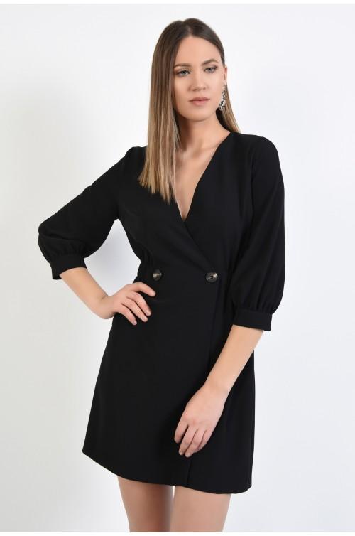 rochie neagra, scurta, casual, Poema, croi parte peste parte