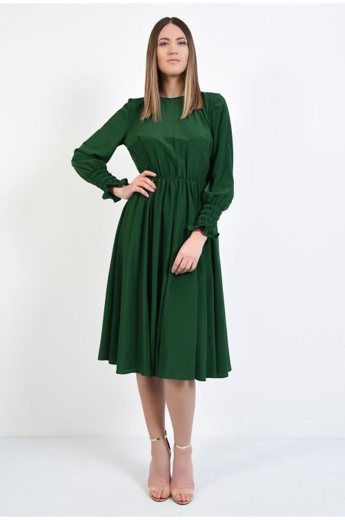 360 - rochie verde, midi, clos, maneci lungi cu mansete elastice