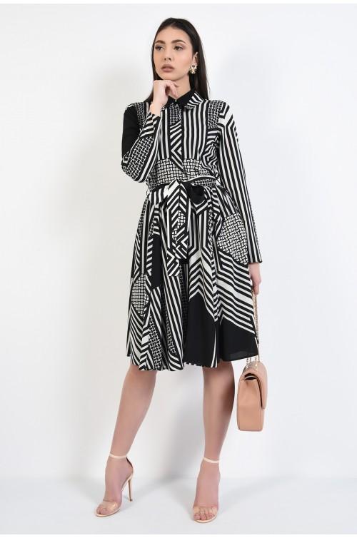 360 - rochie midi, evazata, cu nasturi, cu cordon, imprimeu alb negru