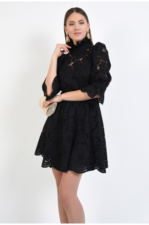 rochie de ocazie, din dantela, neagra, clos, scurta