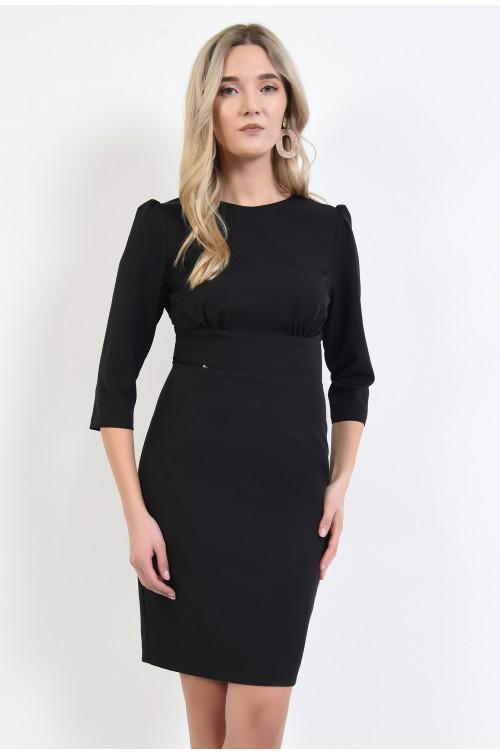 rochie neagra, midi, eleganta, cu funda la spate, Poema