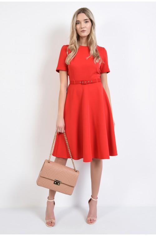 360 - rochie rosie, midi, evazata, cu maneci scurte cu mansete, curea, Poema
