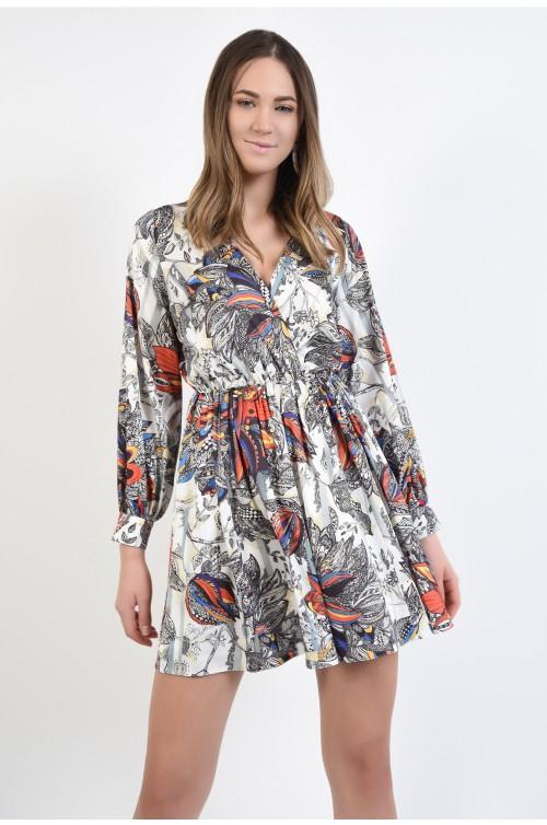 rochie mini, cu imprimeu floral, decolteu in V, anchior, Poema