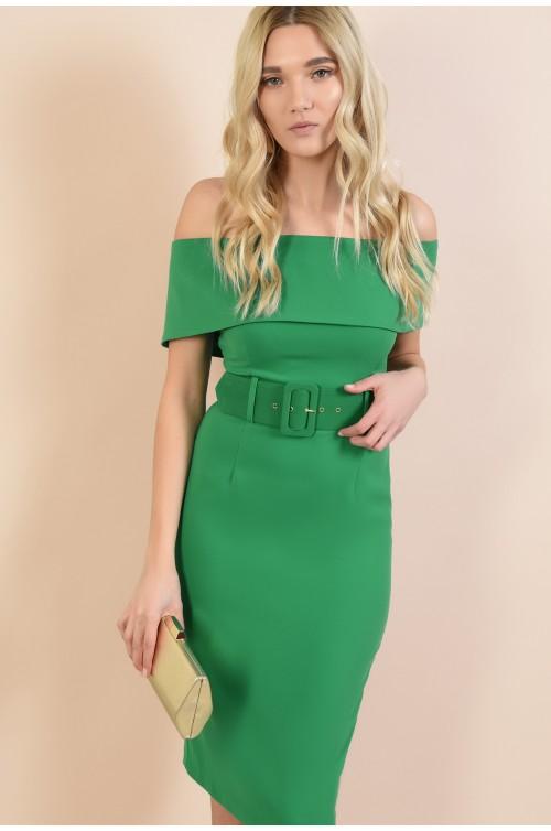 rochie verde, eleganta, conica, mulata, cu umerii goi, Poema