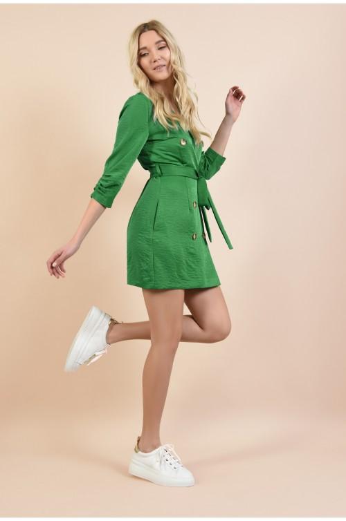 360 - rochie mini, dreapta, tip halat, cu nasturi, cu buzunare, revere