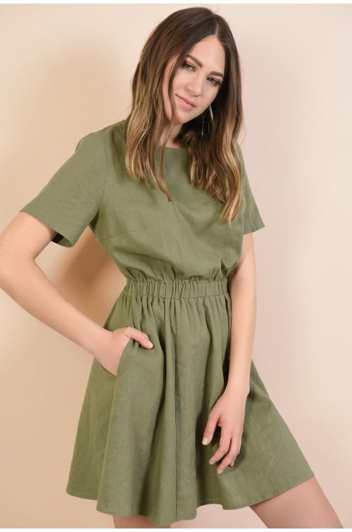 rochie din in, verde kaki, talie pe elastic, cu buzunare