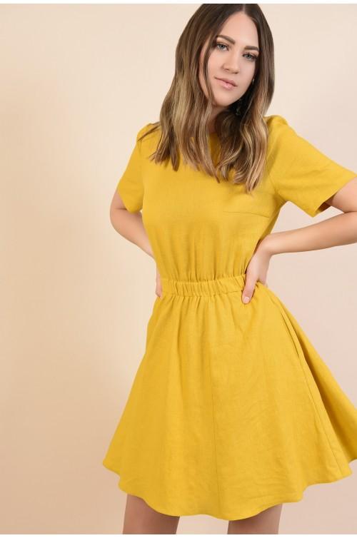 rochie mustar, scurta, talie pe elastic, maneci scurte