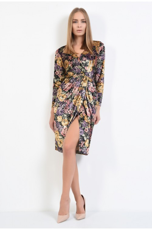 360 - rochie de ocazie, din catifea, imprimeu floral, croi parte peste parte