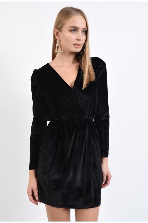rochie de seara, din catifea, neagra, scurta, cu anchior