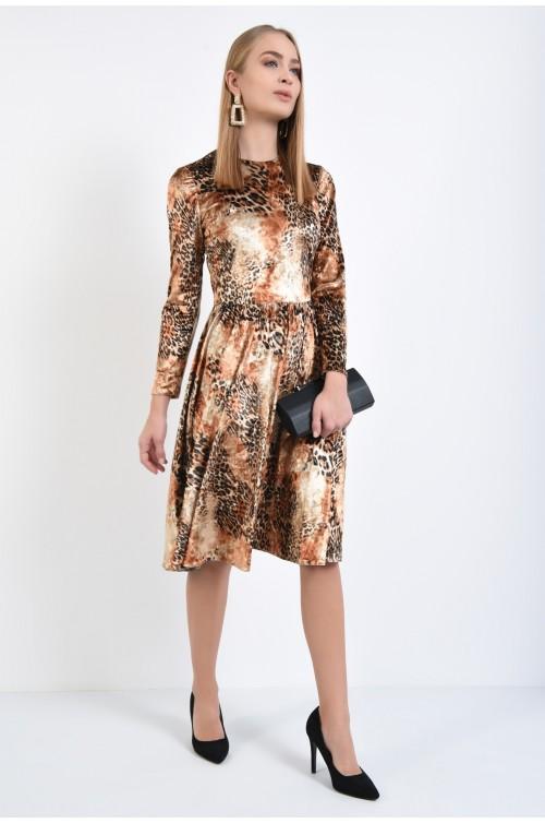 360 - rochie eleganta, din catifea, cu imprimeu, animal print