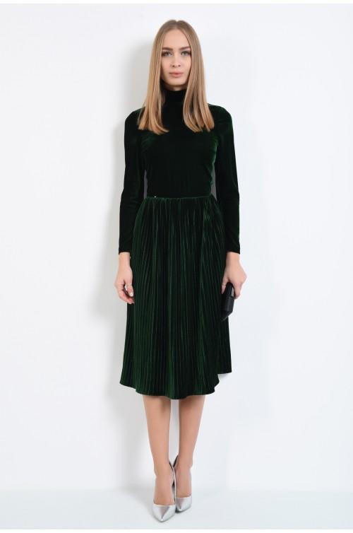 360 - rochie de ocazie, din catifea, verde inchis, cu pliseuri inguste