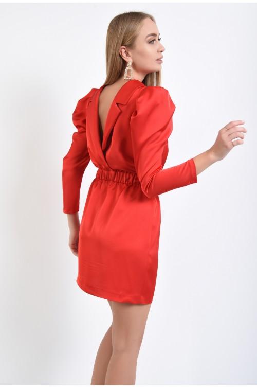 rochie de seara, rosie, scurta, talie pe elastic, maneci fantezie, spate decoltat