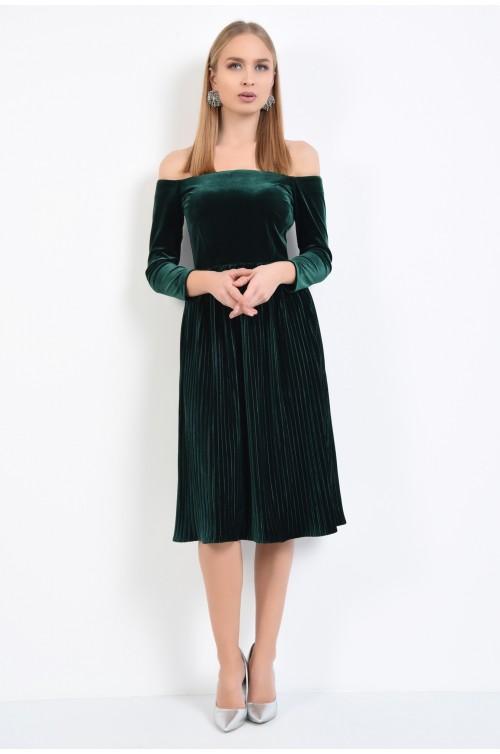 360 - rochie de ocazie, midi, verde, cu pliseuri, umeri goi