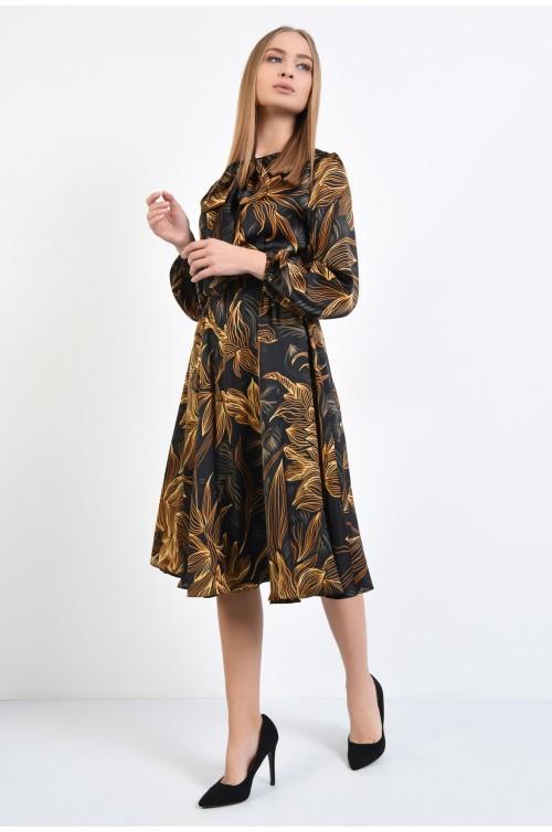 rochie casual, midi, din satin, cu imprimeu floral